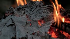 Asche des gebrannten Papiers stock video