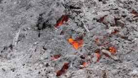 Asche und Kohlen von einem starken Feuer stock footage
