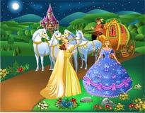 Aschenputtel-Szene mit feenhaftem Umwandlungskürbis der Patin in Wagen mit Pferden und dem Mädchen in eine Prinzessin stock abbildung