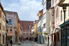 Aschersleben. Shopping street in the historic center of Aschersleben stock images