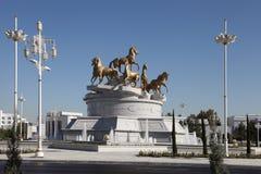 Aschgabat, Turkmenistan - Oktober, 15 2014: Bildhauerisches compositio Lizenzfreies Stockfoto