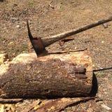 Ascia alloggiata in ceppo dopo lo spezzettamento del legno a pezzi Immagine Stock Libera da Diritti