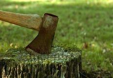 Ascia arrugginita in un ceppo di albero Immagine Stock Libera da Diritti