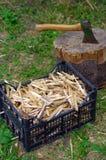 Ascia in ceppo con legna da ardere nella parte anteriore  Immagini Stock Libere da Diritti