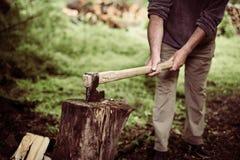 Ascia di intaglio del legno attaccata in un ceppo Immagini Stock Libere da Diritti