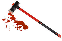 Ascia e sangue Fotografia Stock Libera da Diritti