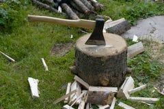 Ascia ed albero di legno Immagine Stock Libera da Diritti