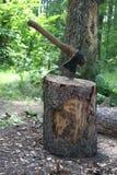 Ascia, legna da ardere di taglio Fotografia Stock