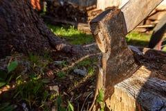 Ascia pronta per il taglio del legname fotografie stock