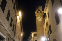 Asciano, Siena, by night Stock Image