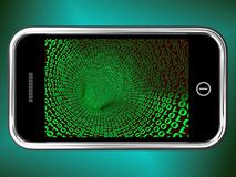 Ascii Code On Mobile Phone 3d Rendering. Shows Smartphone With Binary Tunnel Of Data As Online Technology stock illustration