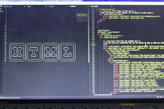 ASCII sztuka imię HTML technologia i reala HTML kodujemy na boku Fotografia Stock