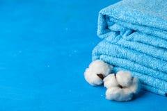 Asciugamani blu molli Fotografia Stock Libera da Diritti