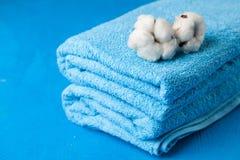 Asciugamani blu molli Immagine Stock Libera da Diritti