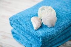 Asciugamani blu molli Immagine Stock