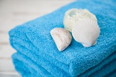 Asciugamani blu molli Fotografia Stock