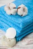 Asciugamani blu molli Fotografie Stock