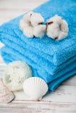 Asciugamani blu molli Immagini Stock