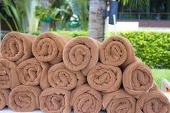 Asciugamani della località di soggiorno di Brown immagine stock libera da diritti