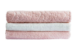 Asciugamani di bagno Isolato immagini stock