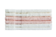Asciugamani di bagno in pila Isolato Fotografia Stock Libera da Diritti