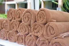 Asciugamani di Brown fotografie stock libere da diritti