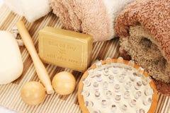 Asciugamani ed insieme della stazione termale Fotografie Stock Libere da Diritti