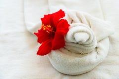 Asciugamano bianco con un fiore su fondo bianco Immagini Stock Libere da Diritti
