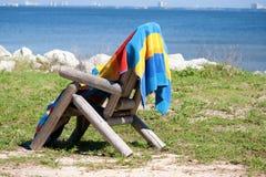 Asciugamano di spiaggia immagini stock libere da diritti