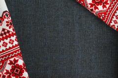 Asciugamano ricamato autentico Fotografia Stock Libera da Diritti