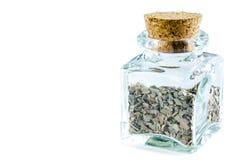 Asciughi la foglia di alloro schiacciata in bottiglia di vetro isolata su backgroun bianco Immagine Stock Libera da Diritti
