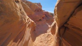 Asciughi la gola con le rocce liscie ed ondulate del canyon rosso Fotografia Stock Libera da Diritti