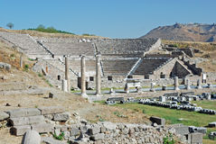 Asclepeion - Ancient theater and ruines - Turkey. Asclepeion - asklepieion - ancient medical complex by Pergamon - Theater and ruins - Turkey royalty free stock image