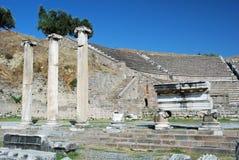 Asclepeion - forntida teater och ruines - Turkiet Royaltyfri Bild