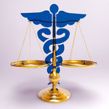 Asclepius & Justice scale. Conceptual idea of justice in medicine Royalty Free Stock Images