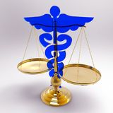 Asclepius & Justice scale. Conceptual idea of justice in medicine Royalty Free Stock Photos
