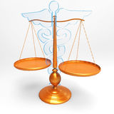 Asclepius & Justice scale. Conceptual idea of justice in medicine Stock Photo