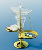 Asclepius & Justice scale. Conceptual idea of justice in medicine royalty free stock photo