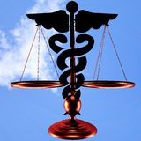 Asclepius & Justice scale. Conceptual idea of justice in medicine Stock Image