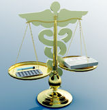 Asclepius & Justice scale. Conceptual idea of justice in medicine Stock Photography
