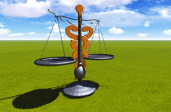Asclepius & Justice scale. Conceptual idea of justice in medicine Royalty Free Stock Photography