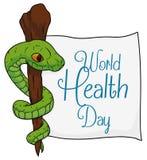 Asclepius Symbol con un papel para el día de salud de mundo, ejemplo del vector Imagen de archivo