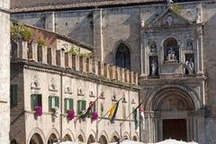 Ascoli Piceno (Italy): Piazza del Popolo. Historic building Royalty Free Stock Photo