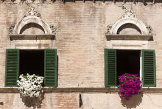 Ascoli Piceno (Italy): Piazza Del Popolo, Windows Royalty Free Stock Photos