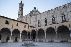 Ascoli Piceno Marches, Italy, cloister of San Francesco Royalty Free Stock Photography