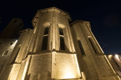 Ascoli Piceno Marches, Italy, historic church by night Stock Photography