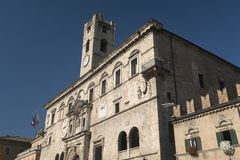 Ascoli Piceno Marches, Italy, Piazza del Popolo at morning Royalty Free Stock Image