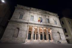 Ascoli Piceno Marches, Italy, historic palace by night Stock Photo