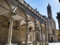 Ascoli Piceno Marches, Italy, Piazza del Popolo at morning Stock Photo