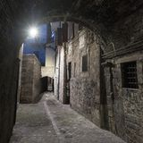 Ascoli Piceno Marches, Italy, alley by night Royalty Free Stock Photo